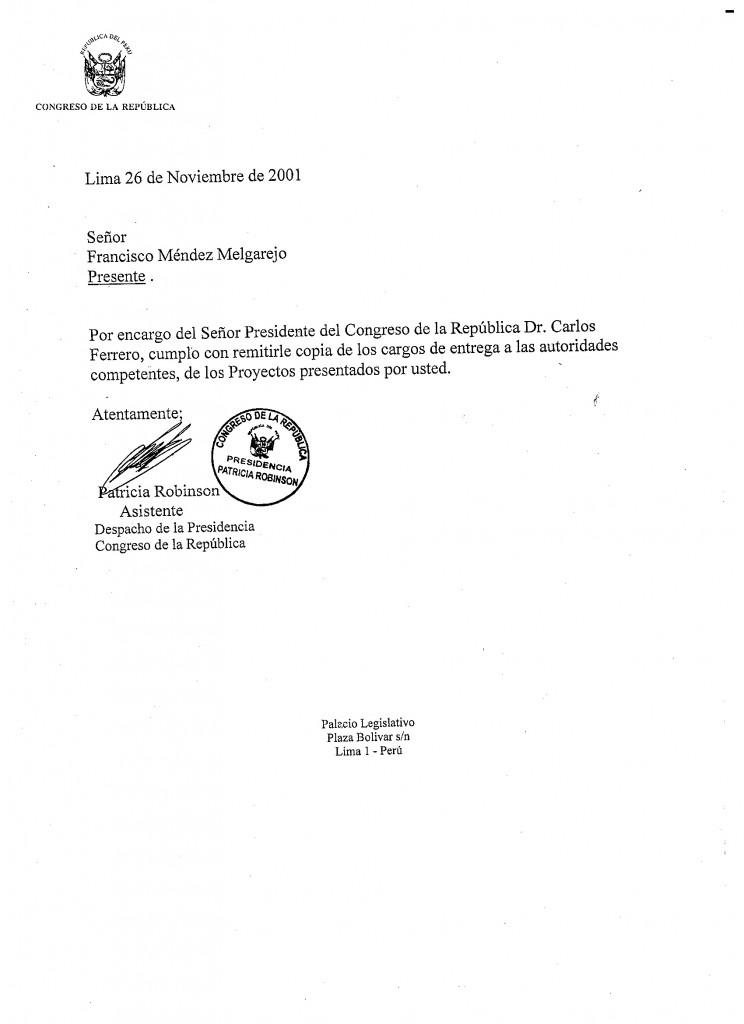 Carta Congreso 2001-2